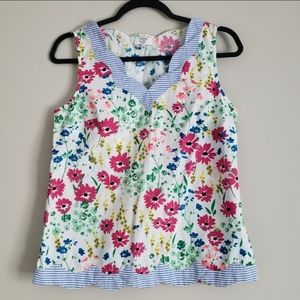 Crown & ivy Floral Scalloped Hem Sleeveless Top PS